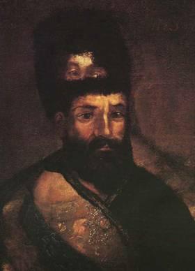 Портрет Емельяна Пугачёва поверх портрета Екатерины II
