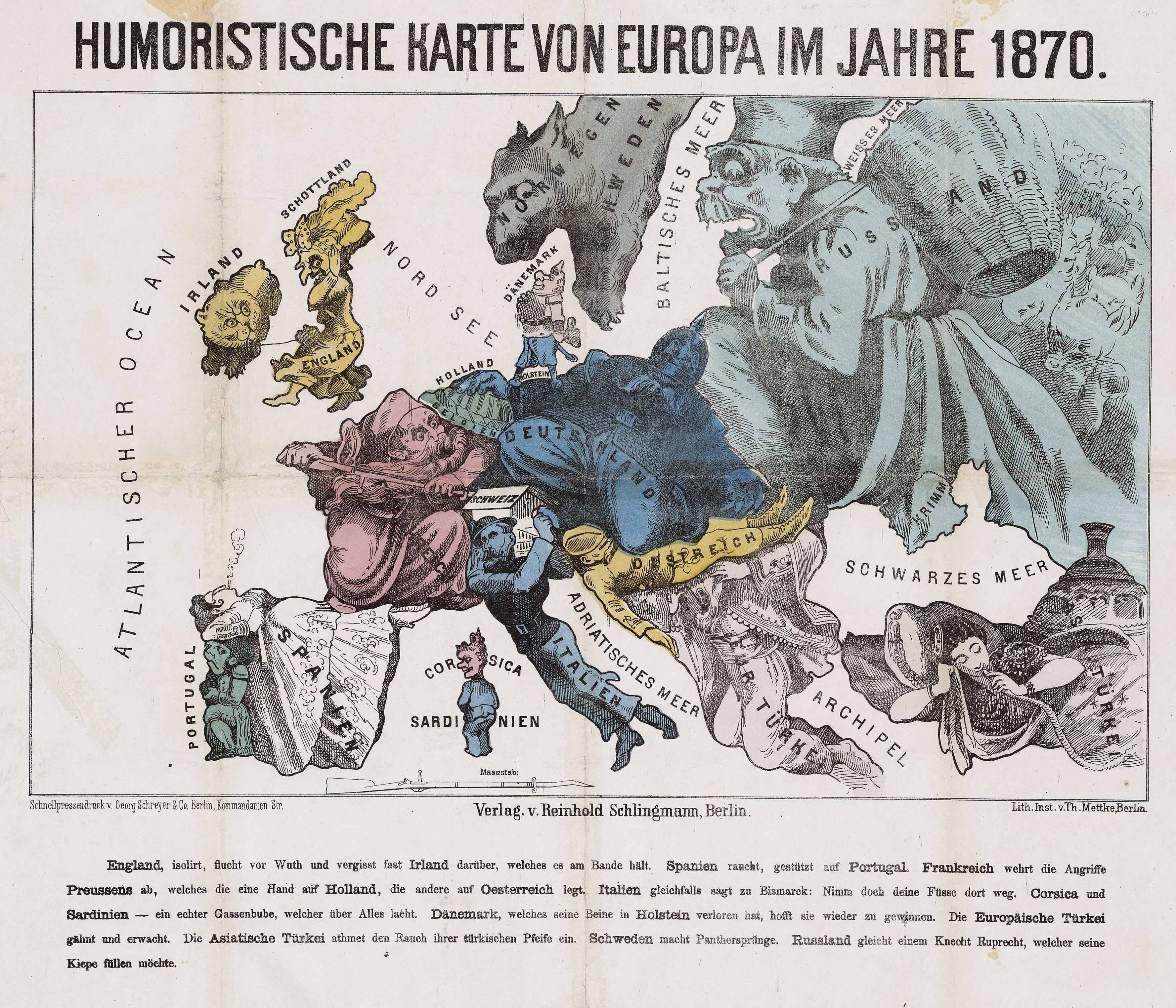 1870 humoristische karte von europa1