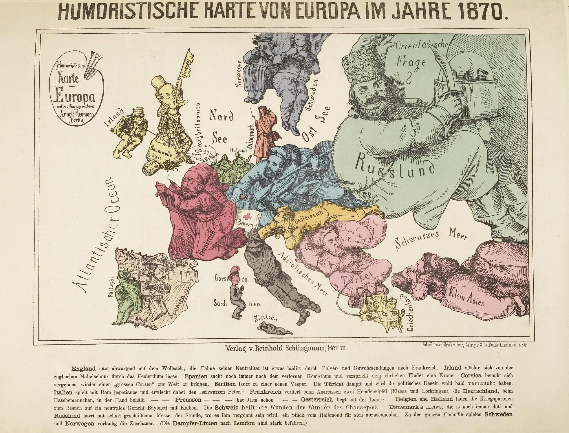 1870 humoristische karte von europa2